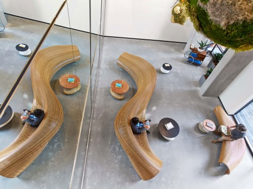 Benches & Ottomans by Matthias Pliessnig seen at Dropbox Headquarters SF, San Francisco - Custom Benches (Reception area)