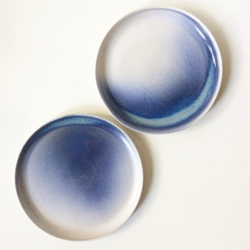 Ceramic Plates by Little Fire Ceramics at Elske, Chicago, Chicago - Cobalt Blue Ombre Plates, Dessert Bowls and Dipped Vases
