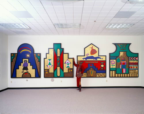 Art & Wall Decor by Cheryl R. Riley at San Francisco Police Department Bayview Station, San Francisco - Ndebele Wall Panels