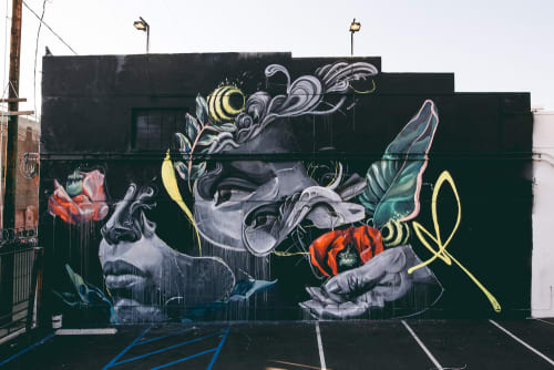 Street Murals by Caratoes (Cara) seen at The Container Yard, Los Angeles - Pollination of Ideas