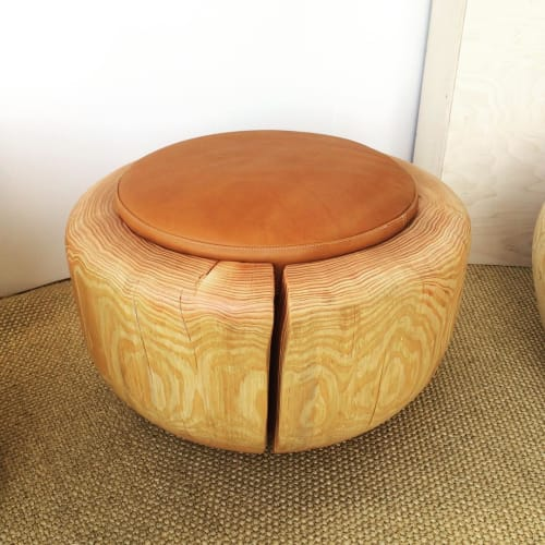 Chairs by Joel Sayre at Private Residence, Los Angeles - Leather and Pine Stool