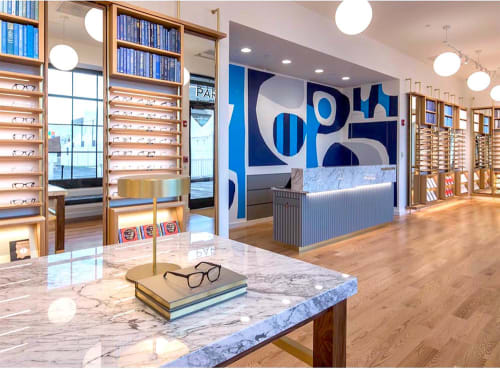 Murals by Cody Hudson seen at Warby Parker Oakbrook Center, Oak Brook - Wall Graphics