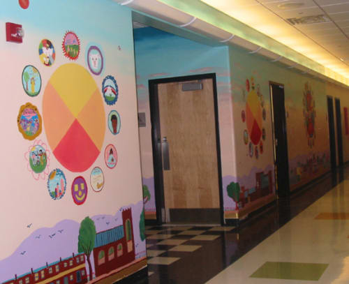 Murals by Laurie Marshall seen at Helen S. Faison Arts Academy, Pittsburgh, PA, Pittsburgh - The Wall of Care