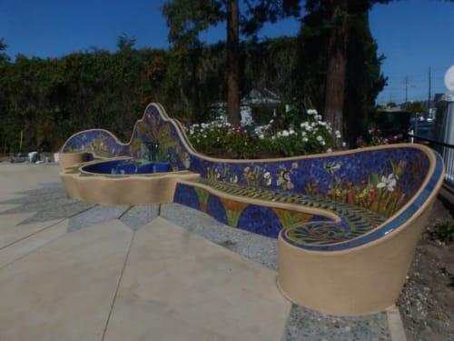 Public Sculptures by Colette Crutcher seen at Jardin de Ninos Park, Redwood City - Fountain/Bench