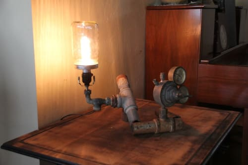 Lamps by Joint Venture Woodworks seen at Private Residence, Fredericksburg - High Pressure Light