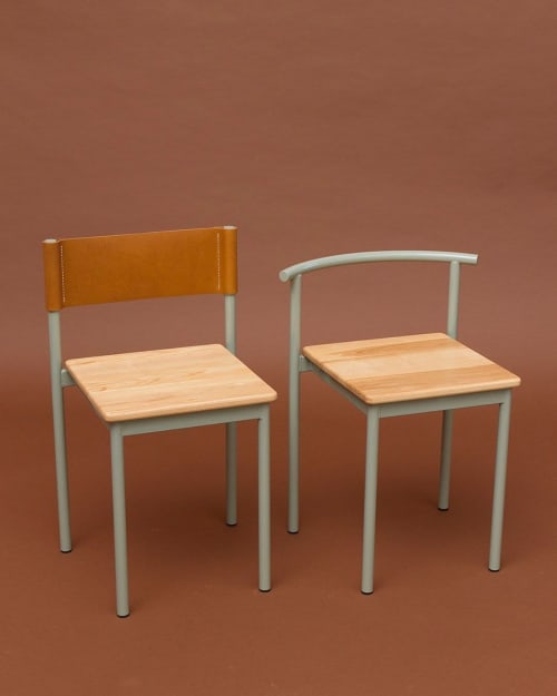 Chairs by Amigo Modern seen at Arcosanti, Mayer - Snack Chair Leather Back