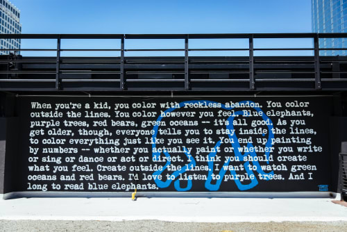 Street Murals by WRDSMTH seen at The BLOC,  DTLA, Los Angeles - Blue Elephants