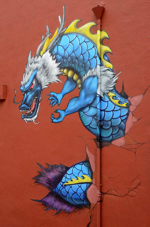 Street Murals by Wesley Wong seen at Pacific Avenue, Chinatown, San Francisco - Dragon Mural