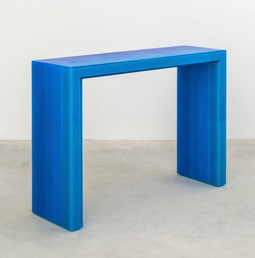 Tables by Facture Studio seen at Independent Lodging Congress, in the William Vale NYC, Brooklyn - Console Table (blue)