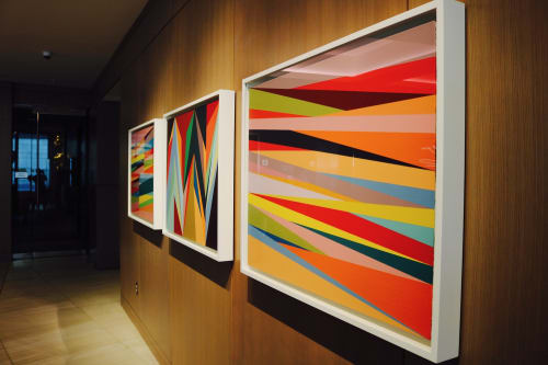Paintings by Odili Donald Odita seen at The ART, a Hotel, Denver - Expand, Flashpoint and Windows