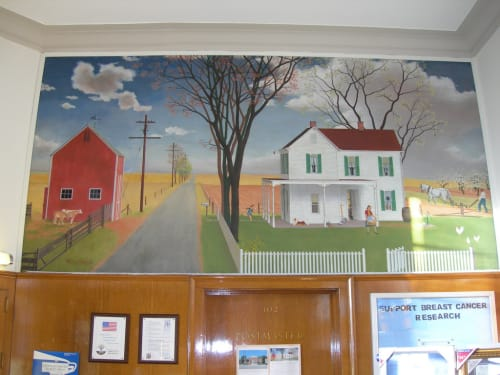 Murals by Marianne Appel seen at United States Postal Service, Middleport, NY, Middleport - Rural Highway