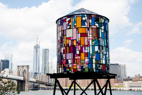 Public Sculptures by Tom Fruin seen at DUMBO, Brooklyn, Brooklyn - Watertower