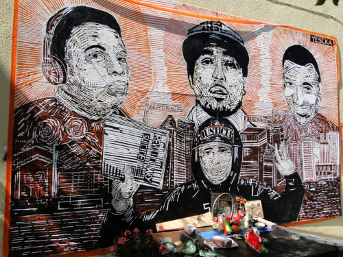 Street Murals by YESCKA seen at 23rd Street, Mission District, San Francisco - Justice