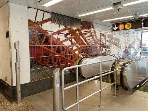 Murals by Jean Shin seen at Lexington Av - 63 St Subway Station, New York - Elevated