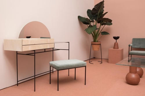 Furniture by Eny Lee Parker seen at 100 Avenue of the Americas, New York - Wabi Vanity and Twins ottoman