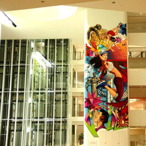 Murals by Didier Jaba Mathieu seen at Mediacorp New Campus, Singapore - Mural