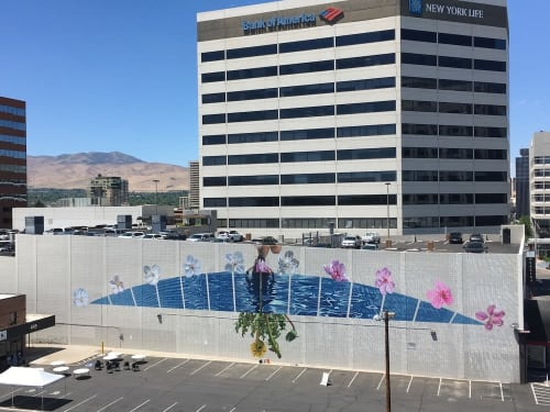 "Murals by Erik Burke seen at Living Stones Church, Reno - ""Reflecting on Our Impressions"""