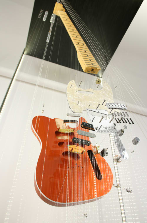 Sculptures by John A. Peralta seen at Fender Hollywood, Los Angeles - Telecaster