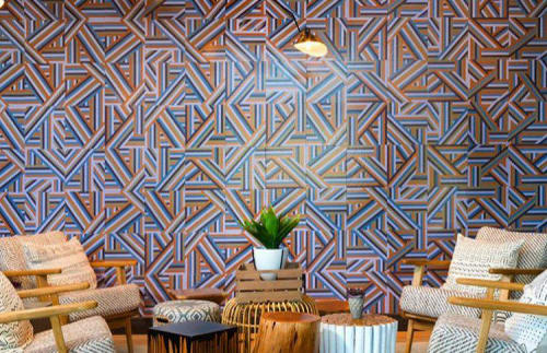 Tiles by Mirth Studio seen at Crestview Commons, Austin - Custom Pattern