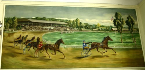 Murals by Georgina Klitgaard seen at United States Postal Service, Goshen, NY, Goshen - The Running of the Hambletonian Stakes