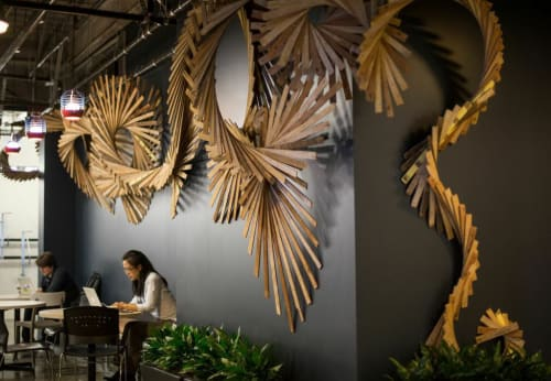 Sculptures by Barbara Holmes seen at Facebook HQ, Menlo Park - Recycled Wood Lathe Wall