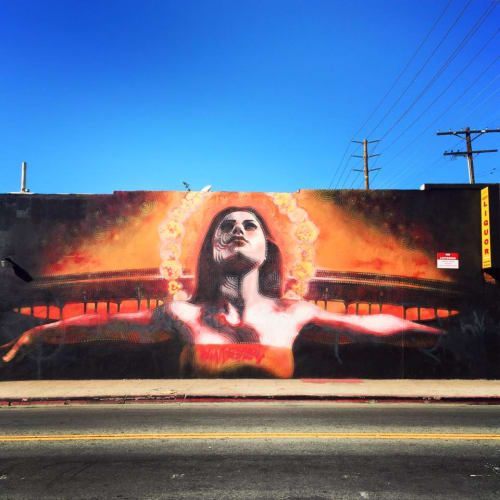 Murals by El Mac (Miles MacGregor) seen at J & J Grocery & Liquor, Los Angeles - La Señora de la Muerte