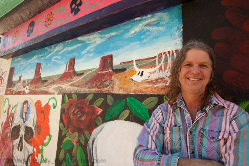 Murals by Steve Seifert seen at Mercado Hollywood, Los Angeles - Southwest Cow Skull Panorama