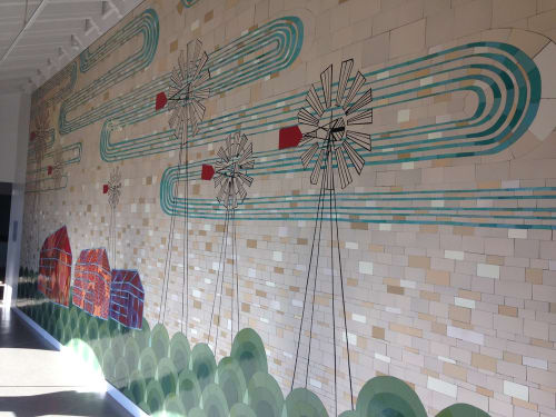 Murals by Kelly Ording seen at Palega Recreation Center, San Francisco - Windmills Mural