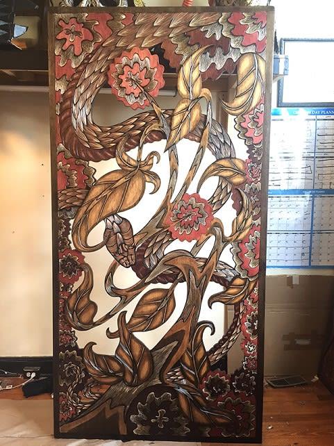 Sculptures by Dennis McNett (Wolfbat Studios) seen at Empellón Midtown, New York - Woodcarvings