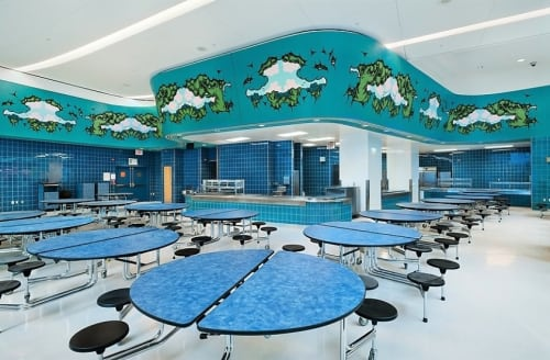 Murals by Mark Dean Veca seen at Spruce Street School, New York - Forest Frieze