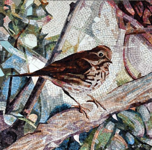 Public Mosaics by Diane Andrews Hall seen at Laguna Honda Hospital and Rehabilitation Center, San Francisco - Hermit Thrush 2