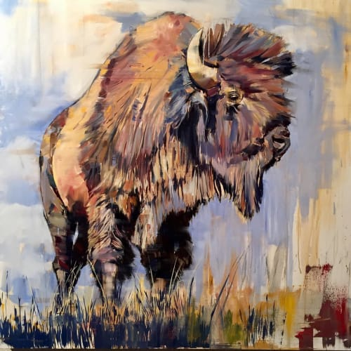 Paintings by Douglas Schneider Art seen at Private Residence, Oakland - American Bison Painting