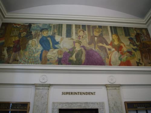 Murals by John Sloan seen at United States Postal Service - Bronxville, Bronxville - The Arrival of the First Mail in Bronxville, 1846