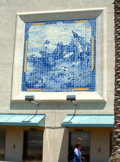 "Murals by Sandow Birk + Elyse Pignolet seen at City Place Shopping Center, Long Beach - ""The Discovery of Long Beach"""
