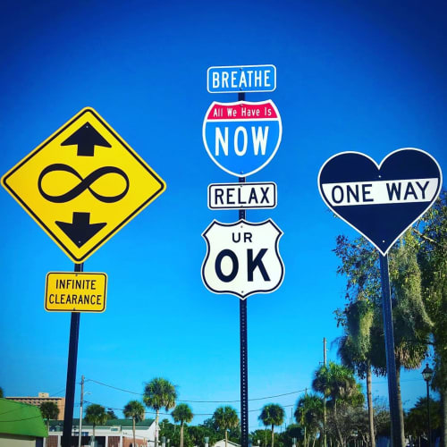 Signage by Scott Froschauer Art seen at Downtown DeLand's Historic Garden District, DeLand - Road Sign Triptych