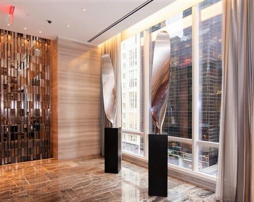 Sculptures by Rob Fischer seen at Park Hyatt New York, New York - Propeller Diptych