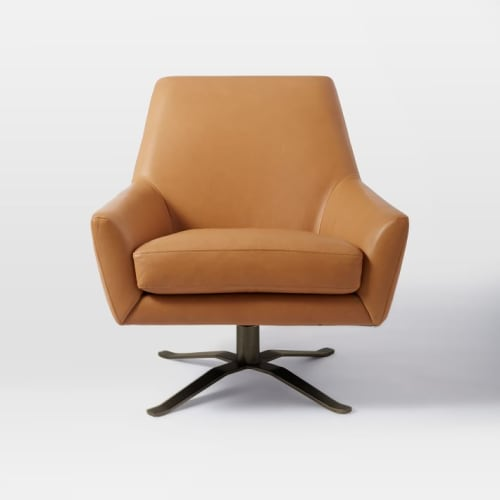 Chairs by West Elm seen at JW Marriott Essex House New York, New York - Lucas Leather Swivel Base Chair