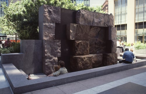 Sculptures by Elyn Zimmerman seen at First Market Tower, San Francisco - Waterfall Walls