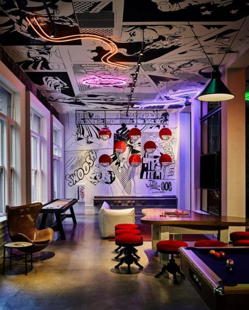 Murals by Color Cartel seen at Hotel Zeppelin, San Francisco - Mural on a Ceiling