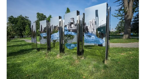 Public Sculptures by Rose DeSiano seen at Randall's Island Park, New York - Island of Empirical Data and Other Fabrications, FLOW.17