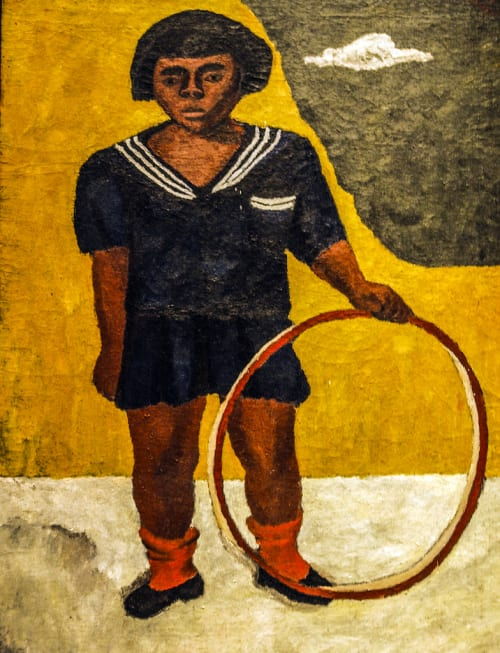 Paintings by Rufino Tamayo seen at Art of The Americas Building, Los Angeles - Girl with Hoop (Niña con aro)