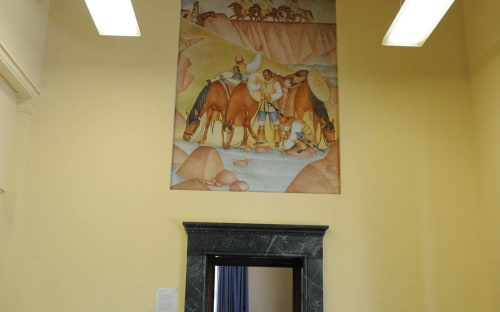Murals by Dorothy Wagner Puccinelli seen at Merced Post Office, Merced, CA, Merced - Vacheros
