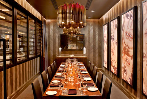 Lighting by ICRAVE seen at Ocean Prime Beverly Hills, Beverly Hills - Custom Halo Light Fixtures