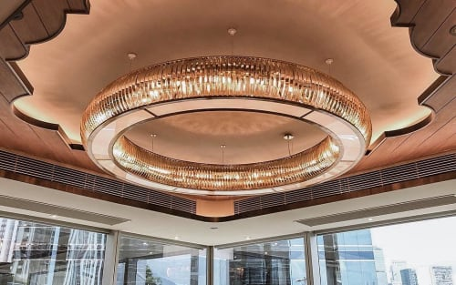 Pendants by deLighting Art seen at Chiuchow Garden Restaurant - Taikoo Shing - Custom Circular Lighting
