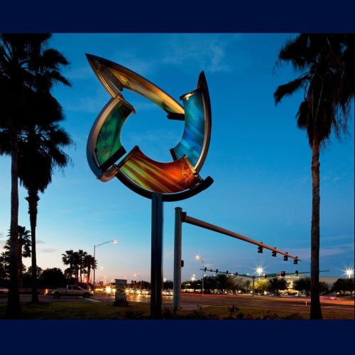 Public Sculptures by C Glass Studio seen at WestShore Plaza, Tampa - Kinetic Ring