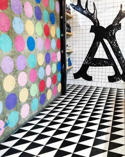 """Murals by The Most Famous Artist seen at Alfred Coffee (In The Alley), West Hollywood - Mural """"Polka Dot Wall"""""""