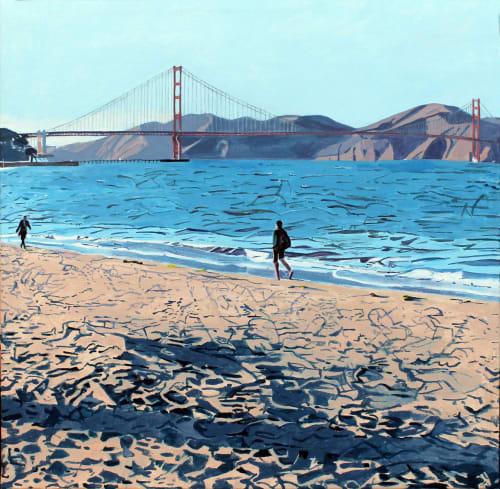 Paintings by Beryl Landau seen at Zuckerberg San Francisco General Hospital and Trauma Center, San Francisco - Walking Along
