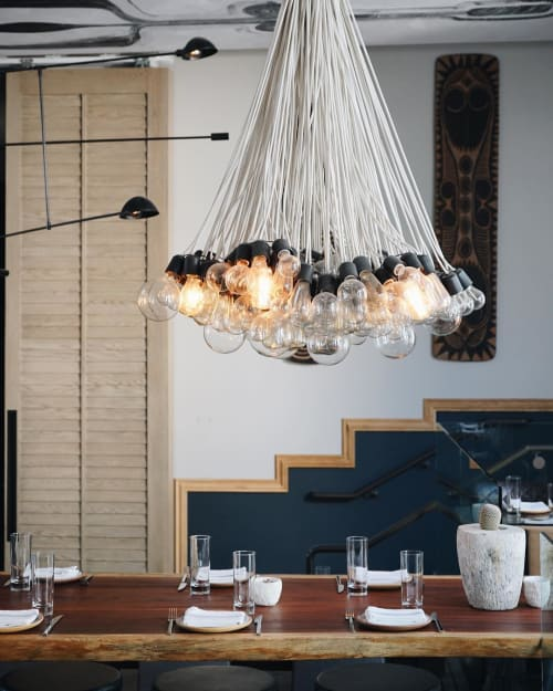 Chandeliers by Thomas Schoos seen at Norah, West Hollywood - Custom Decorative Lighting (Bubble-light chandeliers)