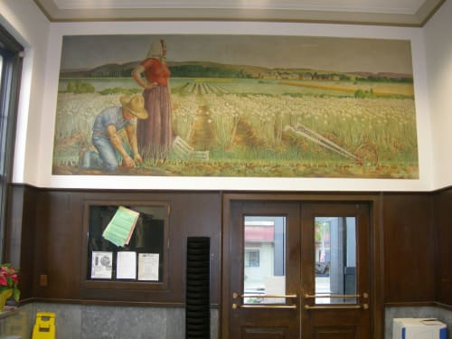 Murals by Alison Mason Kingsbury seen at United States Postal Service - Canastota, Canastota - The Onion Fields