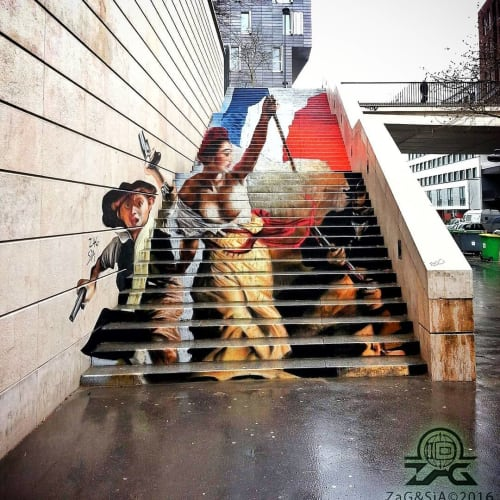 Street Murals by Zag Priv seen at Paris, Paris - Liberty Leading the People